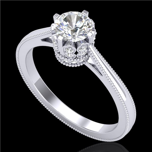 0.81 ctw VS/SI Diamond Art Deco Ring 18k White Gold - REF-140G9W