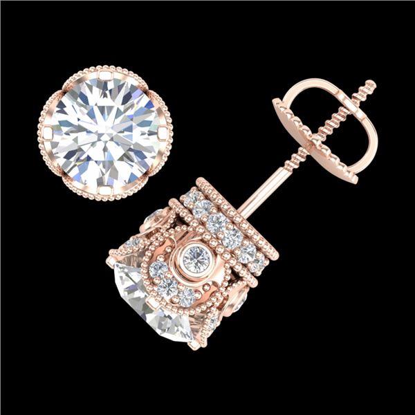 3 ctw VS/SI Diamond Art Deco Stud Earrings 18k Rose Gold - REF-586G8W