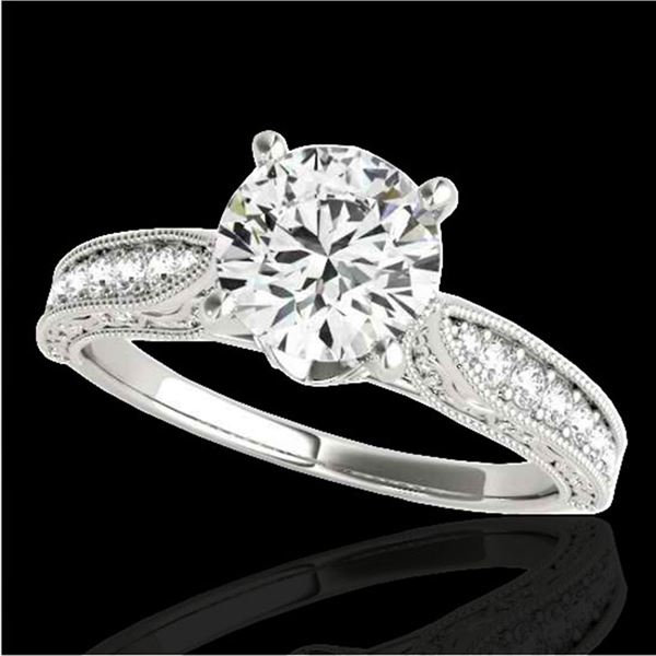 1.21 ctw Certified Diamond Solitaire Antique Ring 10k White Gold - REF-184M3G