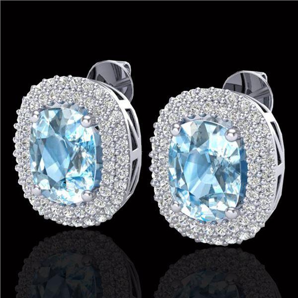 6 ctw Sky Blue Topaz & Micro Pave VS/SI Diamond Earrings 10k White Gold - REF-107M3G