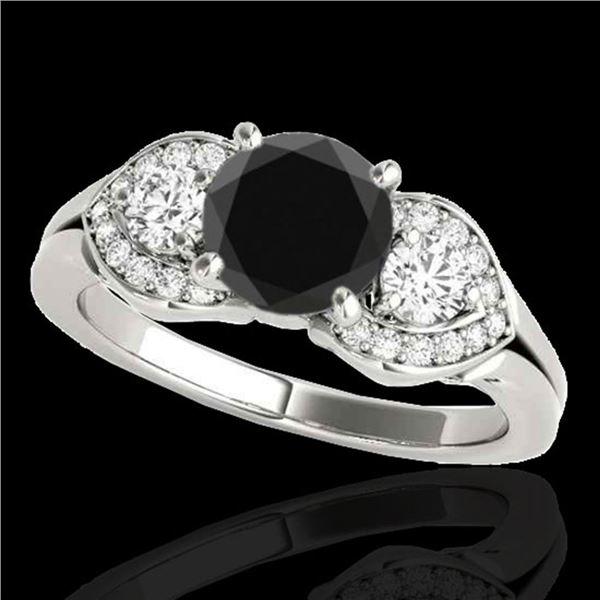1.7 ctw Certified VS Black Diamond 3 Stone Ring 10k White Gold - REF-75F2M