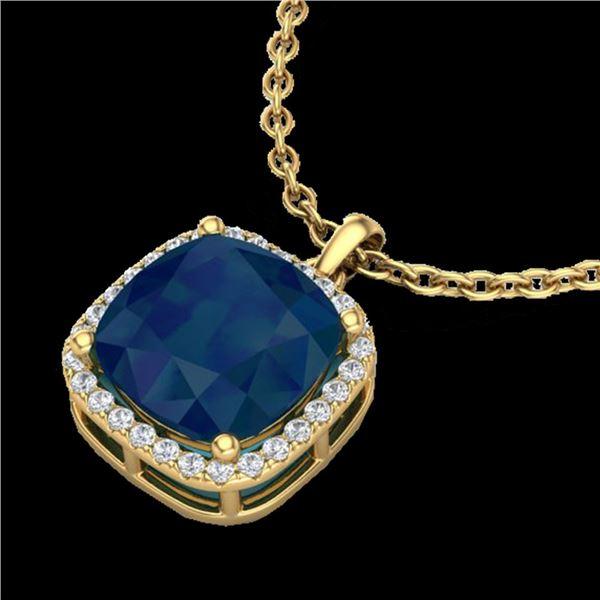 6 ctw Sapphire & Micro Pave VS/SI Diamond Necklace 18k Yellow Gold - REF-85Y5X