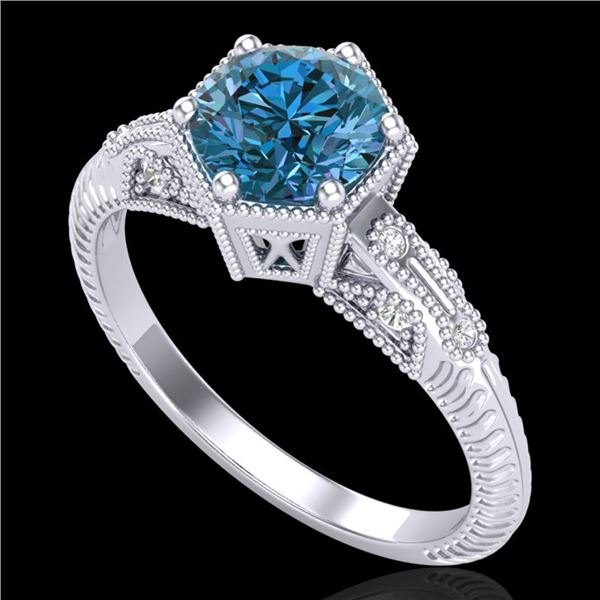 1.17 ctw Fancy Intense Blue Diamond Art Deco Ring 18k White Gold - REF-180F2M