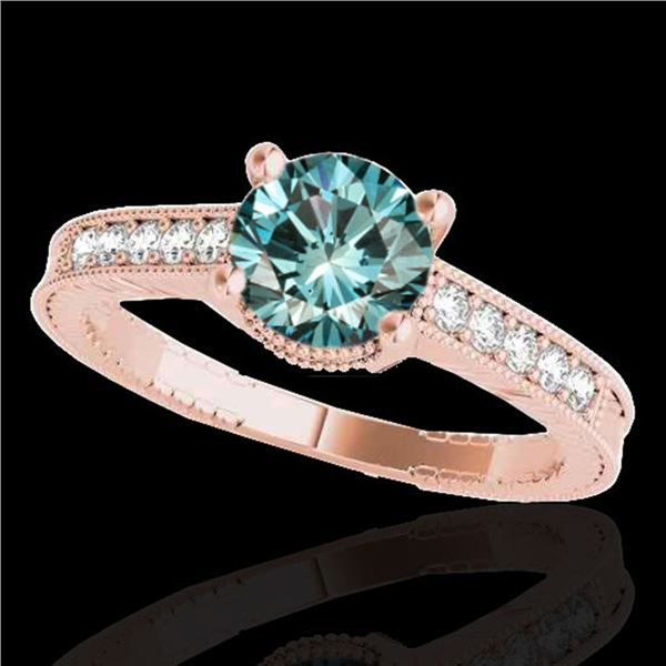 1.45 ctw SI Certified Blue Diamond Solitaire Antique Ring 10k Rose Gold - REF-150X2A