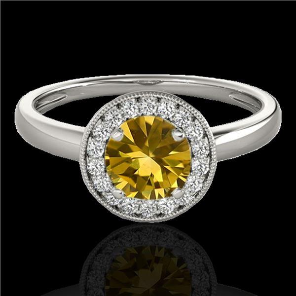 1.15 ctw Certified SI/I Fancy Intense Yellow Diamond Ring 10k White Gold - REF-190W9H