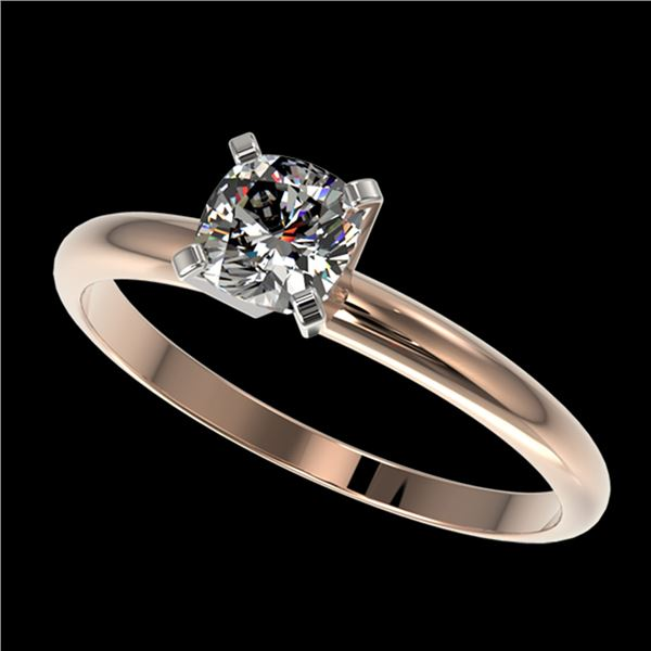 0.50 ctw Certified VS/SI Quality Cushion Cut Diamond Ring 10k Rose Gold - REF-60N3F