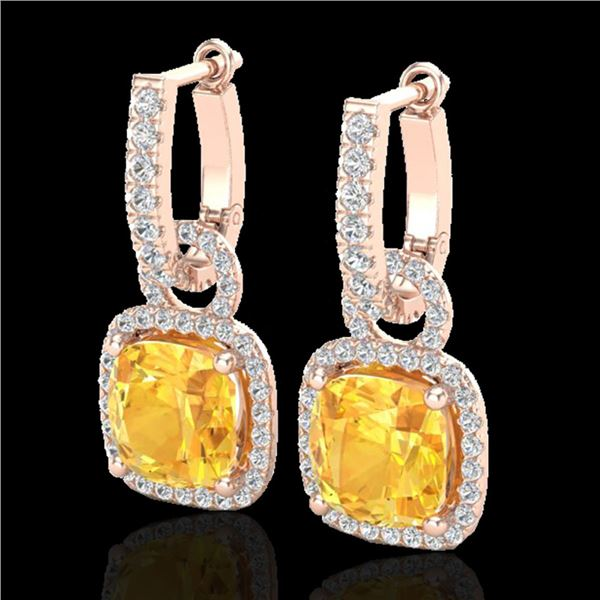 7 ctw Citrine & Micro Pave VS/SI Diamond Earrings 14k Rose Gold - REF-100G2W