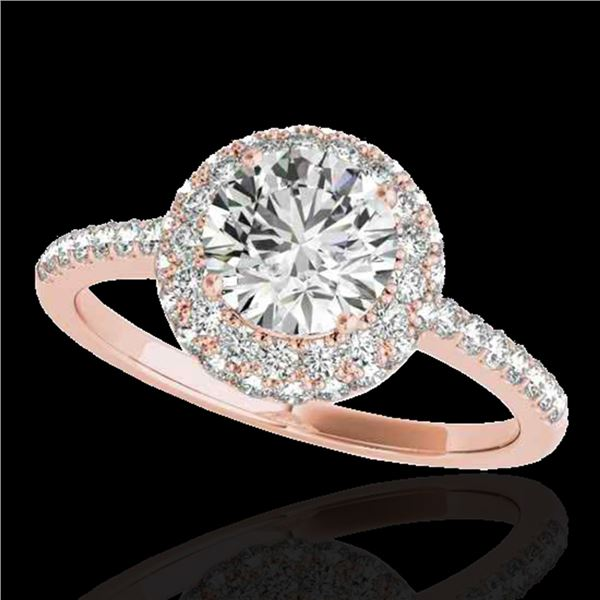 1.6 ctw Certified Diamond Solitaire Halo Ring 10k Rose Gold - REF-203N2F