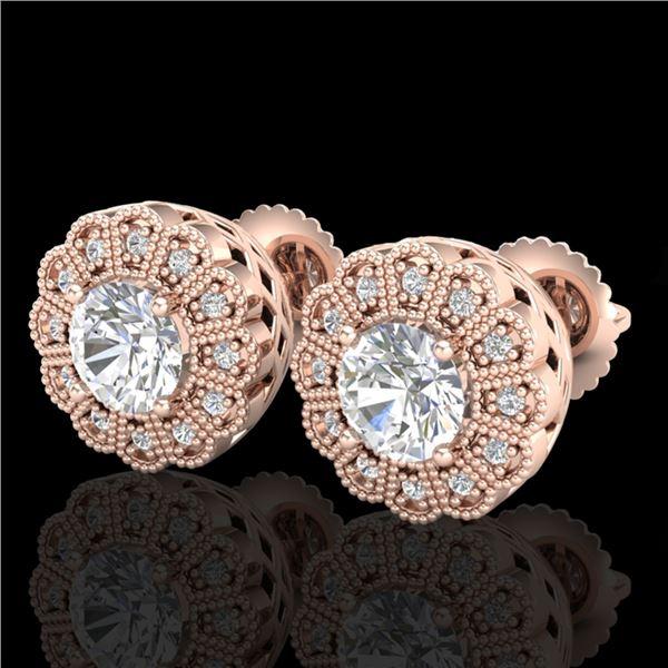 1.32 ctw VS/SI Diamond Solitaire Art Deco Stud Earrings 18k Rose Gold - REF-245N5F