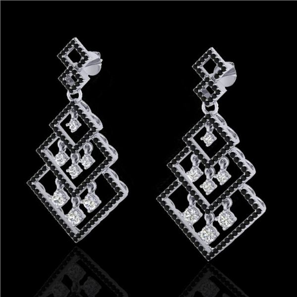 3 ctw Micro Pave Black & White VS/SI Diamond Earrings 14k White Gold - REF-290F9M