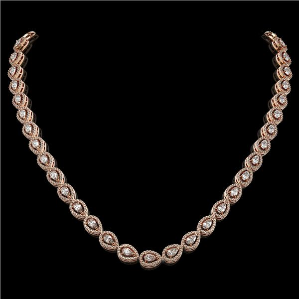 17.28 ctw Pear Cut Diamond Micro Pave Necklace 18K Rose Gold - REF-1497G3W