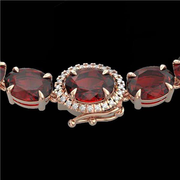 45.25 ctw Garnet & Diamond Eternity Micro Necklace 14k Rose Gold - REF-263H6R