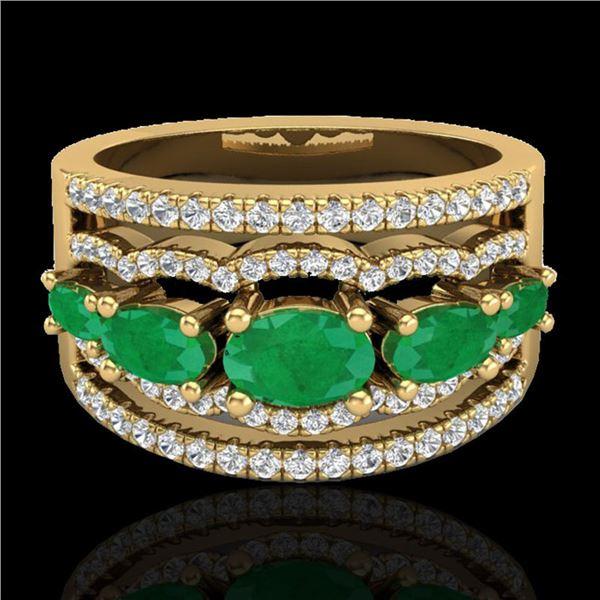 2.25 ctw Emerald & Micro Pave VS/SI Diamond Designer Ring 10k Yellow Gold - REF-81A8N