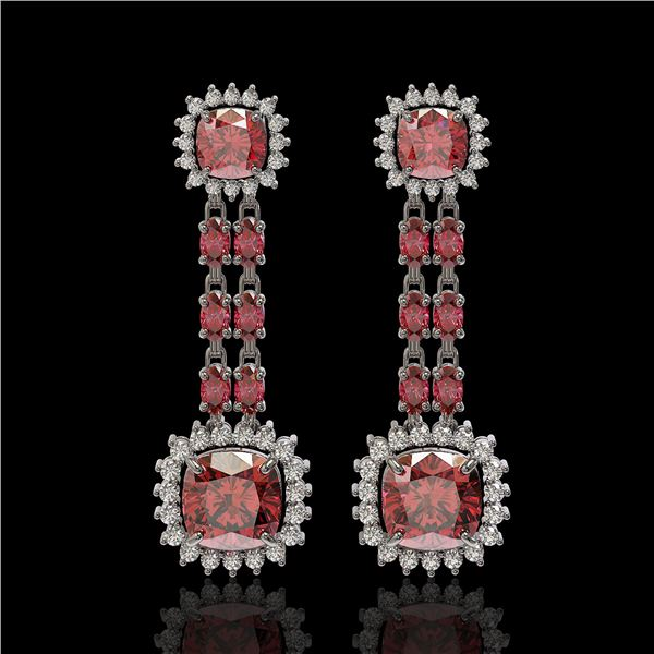 18.38 ctw Tourmaline & Diamond Earrings 14K White Gold - REF-435G5W