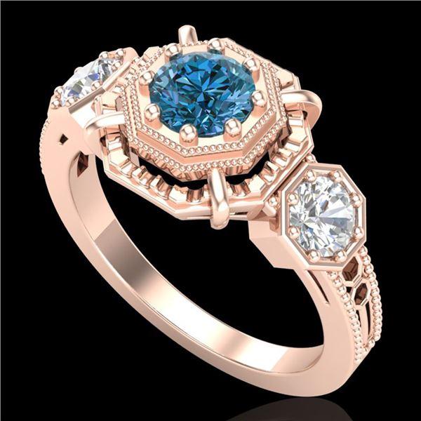 1.01 ctw Fancy Intense Blue Diamond Art Deco Ring 18k Rose Gold - REF-165H5R