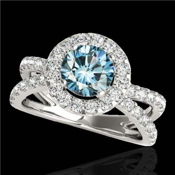 2.01 ctw SI Certified Fancy Blue Diamond Halo Ring 10k White Gold - REF-156W8H