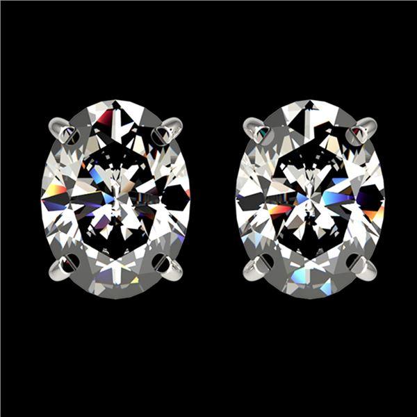 2.50 ctw Certified VS/SI Quality Oval Diamond Stud Earrings 10k White Gold - REF-601A4N