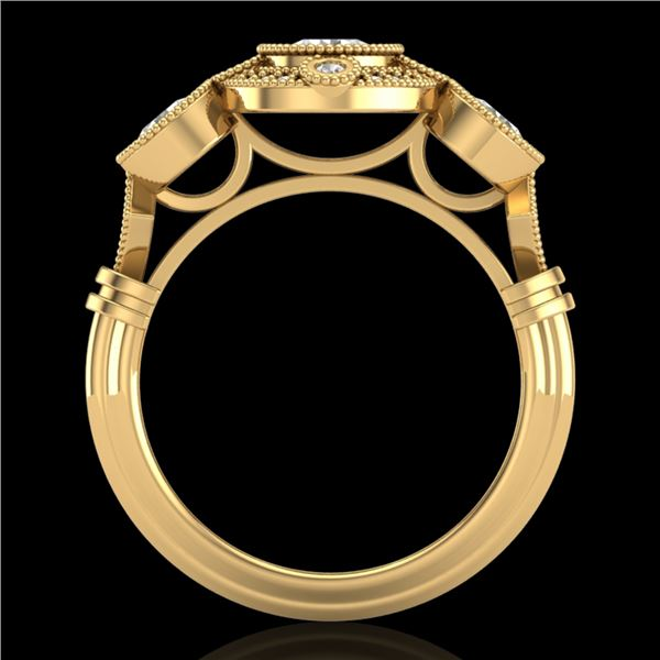 1.51 ctw VS/SI Diamond Solitaire Art Deco 3 Stone Ring 18k Yellow Gold - REF-300A2N