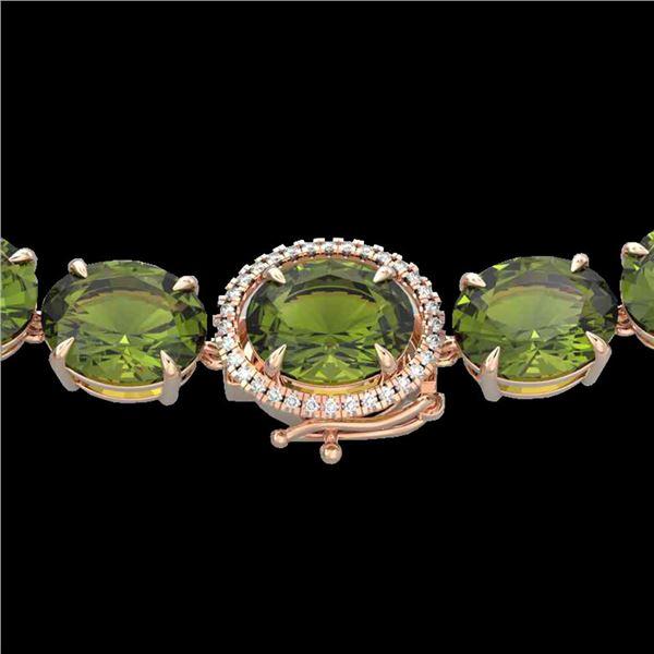 145 ctw Green Tourmaline & Diamond Micro Necklace 14k Rose Gold - REF-2000X2A