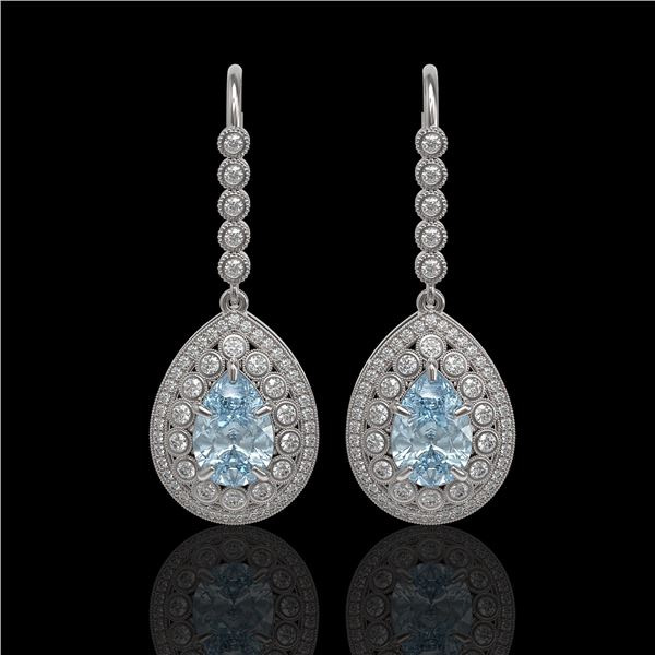 7.56 ctw Aquamarine & Diamond Victorian Earrings 14K White Gold - REF-310X4A