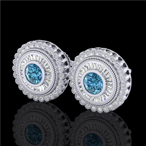 2.61 ctw Fancy Intense Blue Diamond Art Deco Earrings 18k White Gold - REF-300G2W