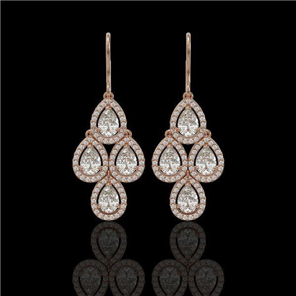 5.22 ctw Pear Cut Diamond Micro Pave Earrings 18K Rose Gold - REF-727Y2X