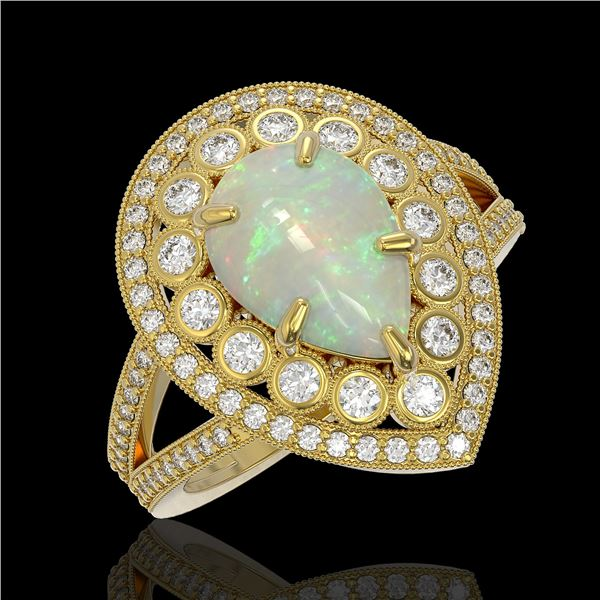 4.19 ctw Certified Opal & Diamond Victorian Ring 14K Yellow Gold - REF-148A2N