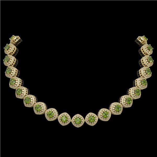 72.27 ctw Tourmaline & Diamond Victorian Necklace 14K Yellow Gold - REF-2169Y8X
