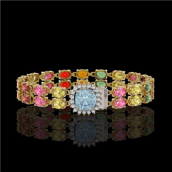 19.77 ctw Sapphire & Diamond Bracelet 14K Yellow Gold - REF-245F5M