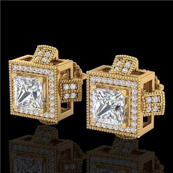 2.75 ctw Princess VS/SI Diamond Micro Pave Stud Earrings 18k Yellow Gold - REF-684X3A