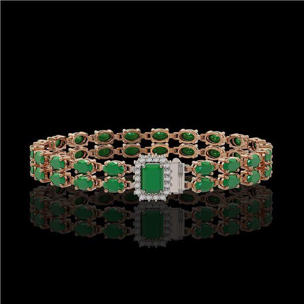19.07 ctw Emerald & Diamond Bracelet 14K Rose Gold - REF-236M4G