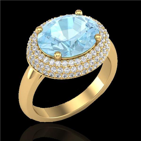 4 ctw Aquamarine & Micro Pave VS/SI Diamond Ring 18k Yellow Gold - REF-125F3M