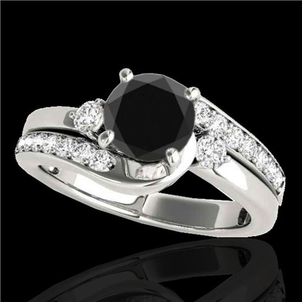 2 ctw Certified VS Black Diamond Bypass Solitaire Ring 10k White Gold - REF-66X8A