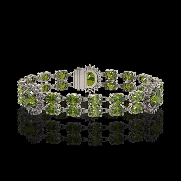 17.79 ctw Tourmaline & Diamond Bracelet 14K White Gold - REF-283H3R