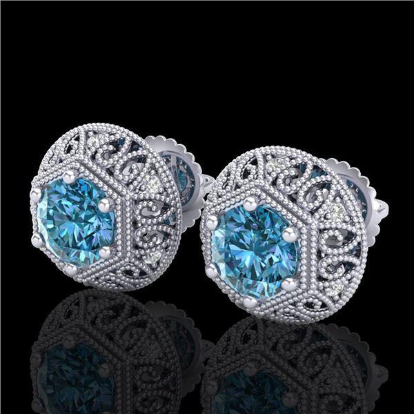 1.31 ctw Fancy Intense Blue Diamond Art Deco Earrings 18k White Gold - REF-149N3F