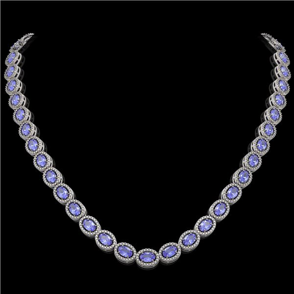 31.96 ctw Tanzanite & Diamond Micro Pave Halo Necklace 10k White Gold - REF-672H8R