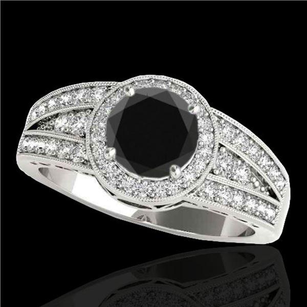1.5 ctw Certified VS Black Diamond Solitaire Halo Ring 10k White Gold - REF-57F8M