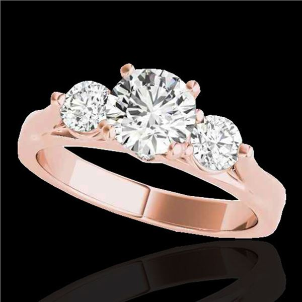 1.75 ctw Certified Diamond 3 Stone Ring 10k Rose Gold - REF-245R5K