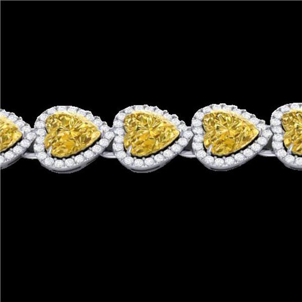 23 ctw Citrine & Micro Pave Bracelet Heart Halo 14k White Gold - REF-415H5R