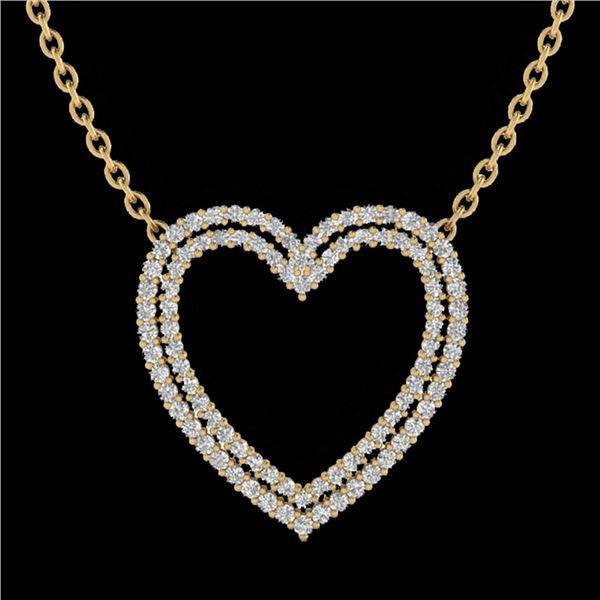 2 ctw VS/SI Diamond Heart Halo Designer Necklace 14k Yellow Gold - REF-134F8M