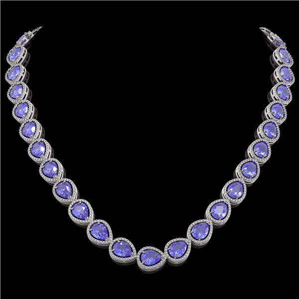 44.8 ctw Tanzanite & Diamond Micro Pave Halo Necklace 10k White Gold - REF-1134X9A