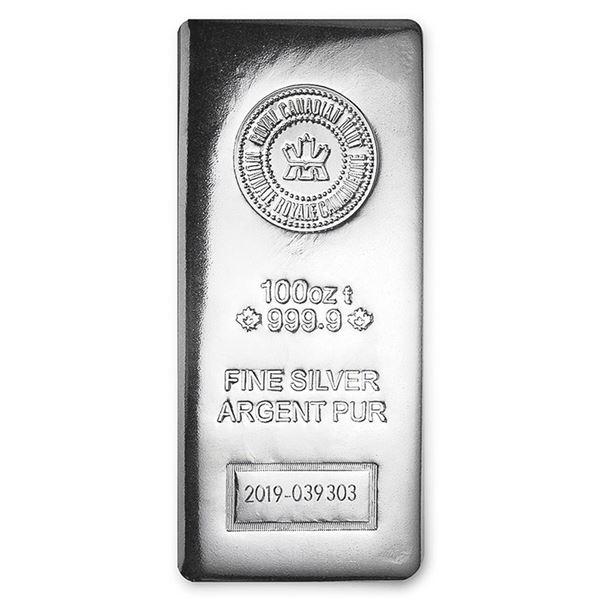 One piece 100 oz 0.999 Fine Silver Bar Royal Canadian Mint - 97758