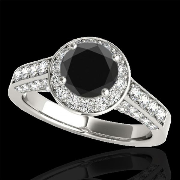 1.8 ctw Certified VS Black Diamond Solitaire Halo Ring 10k White Gold - REF-80F5M