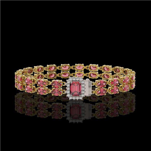16.97 ctw Tourmaline & Diamond Bracelet 14K Yellow Gold - REF-236A4N