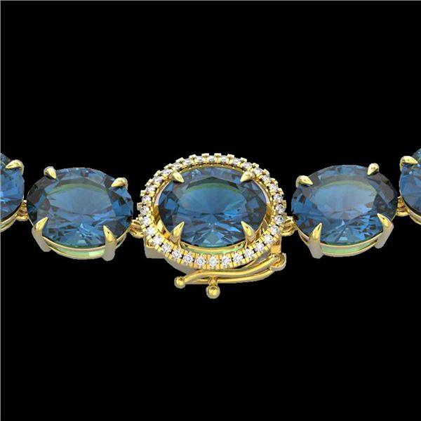177 ctw London Blue Topaz & Diamond Micro Necklace 14k Yellow Gold - REF-563W5H