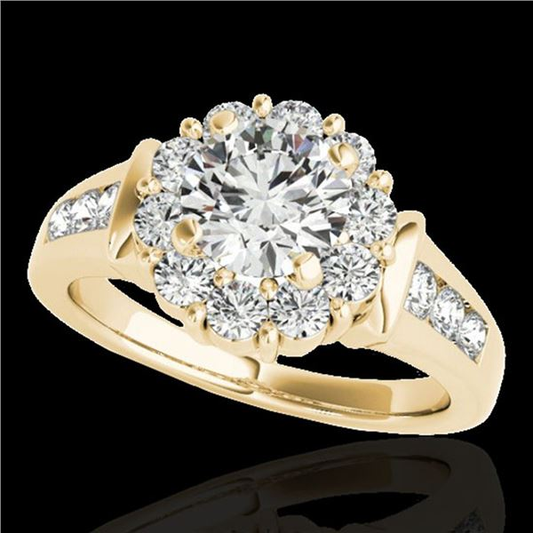1.9 ctw Certified Diamond Solitaire Halo Ring 10k Yellow Gold - REF-216F8M