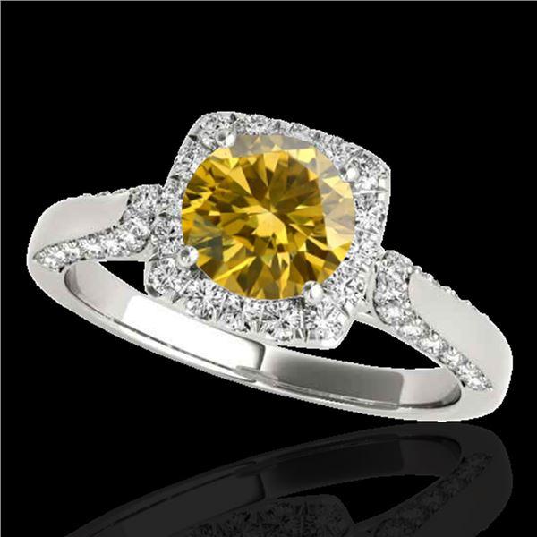 1.5 ctw Certified SI/I Fancy Intense Yellow Diamond Ring 10k White Gold - REF-204A5N