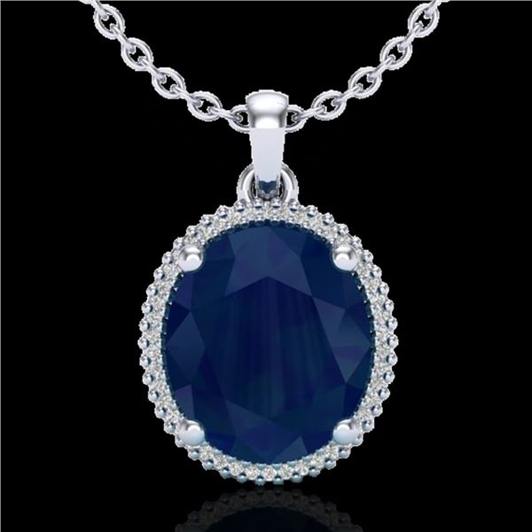 12 ctw Sapphire & Micro Pave VS/SI Diamond Necklace 18k White Gold - REF-93X6A
