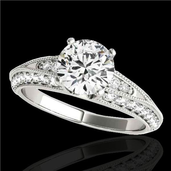 1.58 ctw Certified Diamond Solitaire Antique Ring 10k White Gold - REF-211G4W