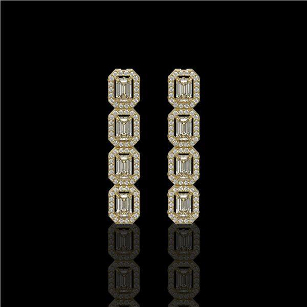 3.84 ctw Emerald Cut Diamond Micro Pave Earrings 18K Yellow Gold - REF-459F8M